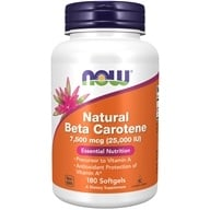 NOW Foods - Beta Carotene (Natural) D. salina with Mixed Carotenoids 25000 IU - 180 Softgels