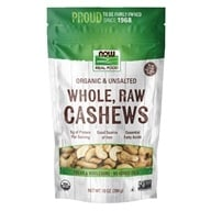 NOW Foods - Organic Whole Raw Cashews Unsalted - 10 oz.