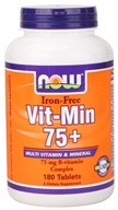 NOW Foods - Vit-Min 75+ Multiple Vitamin (Iron-Free) - 180 Tablets, from category: Vitamins & Minerals