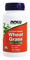 Image of NOW Foods - Wheat Grass Organic Non-GE 500 mg. - 100 Tablets