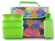 New Wave Enviro Products - Lunchopolis Little Free Lunch Box with Food Containers Pink Multi-Colored Swirls (796515500035)