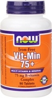 Image of NOW Foods - Vit-Min 75+Iron-Free - 90 Tablets