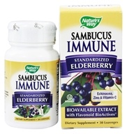 Nature's Way - Sambucus Immune System Bio-Certified Elderberry, Echinacea, Zinc, Propolis & Vitamin C Lozenges - 30 Lozenges by Nature's Way