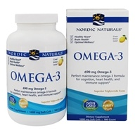 Image of Nordic Naturals - Omega-3 Purified Fish Oil Lemon 1000 mg. - 180 Softgels