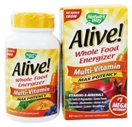 Nature's Way - Alive Multi-Vitamin Whole Food Energizer No Iron Added - 90 Tablets - $13.39