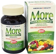 American Health - More Than A Multiple Whole Food Concentrates Iron Free - 90 Tablets - $21.90