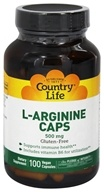 Country Life - L-Arginine Caps 500 mg. - 100 Vegetarian Capsules (015794010258)