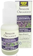 Avalon Organics - Lavender Luminosity Renewal Facial Serum Unscented - 1 oz. (654749353172)