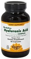 Country Life - Bio-Active Hyaluronic Acid Complex Featuring Clinically Proven Hyal-Joint - 90 Vegetarian Capsules (015794030614)
