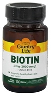 Country Life - Biotin Hi-Potency 1000 mcg. - 100 Tablets (015794065036)