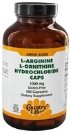 Image of Country Life - L-Arginine L-Ornithine Caps Amino Acid Complex with Vitamin B-6 1000 mg. - 180 Capsules