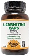 Image of Country Life - L-Carnitine Caps Amino Acid Supplement with B-6 500 mg. - 60 Vegetarian Capsules