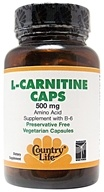 Country Life - L-Carnitine Caps Amino Acid Supplement with B-6 500 mg. - 60 Vegetarian Capsules by Country Life