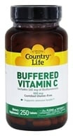 Country Life - Buffered Vitamin C Plus 100 mg of Bioflavonoids 500 mg. - 250 Tablets Formerly Time Release by Country Life