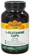 Image of Country Life - L-Glutamine Caps Free Form Amino Acid Supplement with B-6 500 mg. - 100 Vegetarian Capsules