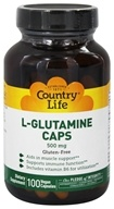 Country Life - L-Glutamine Caps Free Form Amino Acid Supplement with B-6 500 mg. - 100 Vegetarian Capsules