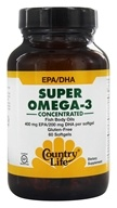 Country Life - Super Omega-3 Concentrated Fish Body Oils 400 mg EPA/200 mg DHA - 60 Softgels by Country Life