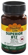 Country Life - Superior B12 Sublingual Berry Flavor 3000 mcg. - 50 Lozenges