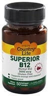Country Life - Superior B-12 Sublingual Berry Flavor 3000 mcg. - 50 Lozenges (formerly Biochem) (015794016465)