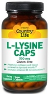 Country Life - L-Lysine Caps Free Form Amino Acid Supplement with B-6 500 mg. - 50 Vegetarian Capsules - $4.79