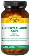 Country Life - L-Phenylalanine Caps Essential Free-Form Amino Acid with Vitamin B-6 500 mg. - 60 Vegetarian Capsules - $9.59