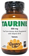 Country Life - Taurine Free-Form Amino Acid Supplement with Vitamin B-6 500 mg. - 100 Tablets