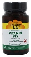 Image of Country Life - Vitamin B12 with Folic Acid Sublingual Natural Cherry Flavor 500 mcg. - 100 Lozenges