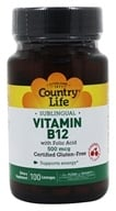 Country Life - Vitamin B12 with Folic Acid Sublingual Natural Cherry Flavor 500 mcg. - 100 Lozenges, from category: Vitamins & Minerals