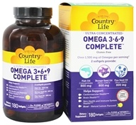 Image of Country Life - Ultra Concentrated Omega 3-6-9 - 180 Softgels