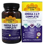 Image of Country Life - Ultra Concentrated Omega 3-6-9 - 90 Softgels