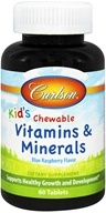 Carlson Labs - Kids Chewable Vitamins and Minerals Blue Raspberry Flavor - 60 Chewable Tablets (088395042409)