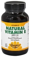 Country Life - Natural Vitamin E 400 IU - 180 Softgels by Country Life