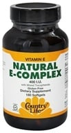 Image of Country Life - Natural Vitamin E Complex with Mixed Tocopherols 400 IU - 180 Softgels