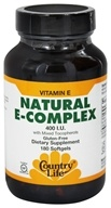 Country Life - Natural Vitamin E Complex with Mixed Tocopherols 400 IU - 180 Softgels by Country Life
