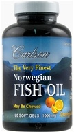 Carlson Labs - The Very Finest Norwegian Fish Oil Omega-3's DHA & EPA Orange Flavor 1000 mg. - 120 Softgels (088395016417)