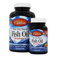 Carlson Labs - The Very Finest Norwegian Fish Oil Omega-3's DHA & EPA Great Orange Flavor 1000 mg. - Bonus Pack 120 + 30 Softgels ...