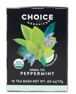 Choice Organic Teas - Peppermint Herb Tea Caffeine Free - 16 Tea Bags (047445919610)