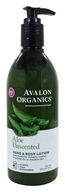 Avalon Organics - Hand & Body Lotion Aloe Unscented - 12 oz. (654749352175)