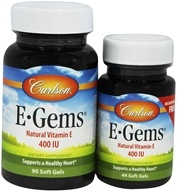Carlson Labs - E-Gems Natural Vitamin E 400 IU - Bonus Pack 90 + 44 Softgels