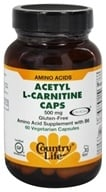 Country Life - Acetyl L-Carnitine Caps Amino Acids 500 mg. - 60 Vegetarian Capsules