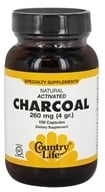 Country Life - Natural Activated Charcoal 260 mg. - 100 Capsules by Country Life