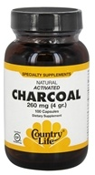 Country Life - Natural Activated Charcoal 260 mg. - 100 Capsules (015794034926)