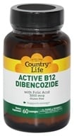 Image of Country Life - Active B-12 Dibencozide with Folic Acid Sublingual 3000 mcg. - 60 Lozenges