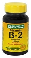 Good 'N Natural - Vitamin B-2 Riboflavin 100 mg. - 100 Tablets (074312406409)