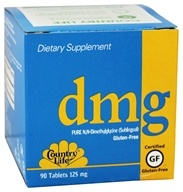 Country Life - DMG Pure N,N-Dimethylglycine Sublingual 125 mg. - 90 Vegetarian Tablets