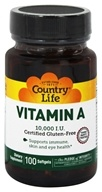 Country Life - Natural Vitamin A From Fish Liver Oil 10000 IU - 100 Softgels (015794055419)