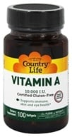 Country Life - Natural Vitamin A From Fish Liver Oil 10000 IU - 100 Softgels - $4.19