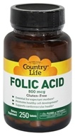 Country Life - Folic Acid 800 mcg. - 250 Vegetarian Tablets (015794065227)