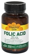 Country Life - Folic Acid 800 mcg. - 250 Vegetarian Tablets, from category: Vitamins & Minerals