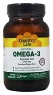 Image of Country Life - Omega-3 Natural Fish Body Oils Providing EPA and DHA 1000 mg. - 50 Softgels